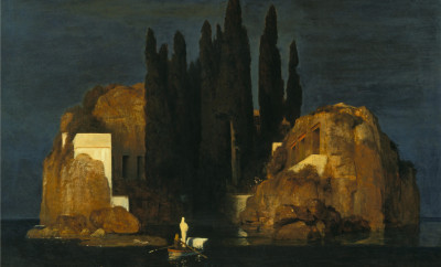 PWI83823 The Isle of the Dead, 1880 (oil on canvas) by Bocklin, Arnold (1827-1901); 111x155 cm; Kunstmuseum, Basel, Switzerland; (add.info.: painted at the request of a young widow who wanted 'an image to dream by'; initially entitled 'A Tranquil Place';); Peter Willi; Swiss,  out of copyright